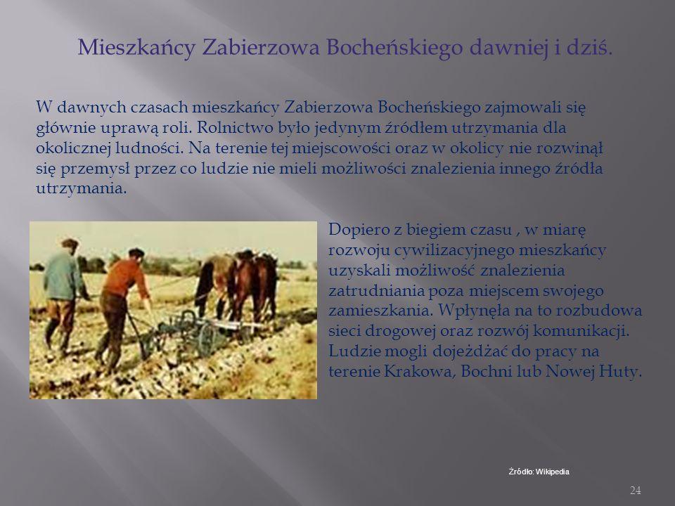 Mieszkańcy Zabierzowa Bocheńskiego dawniej i dziś.