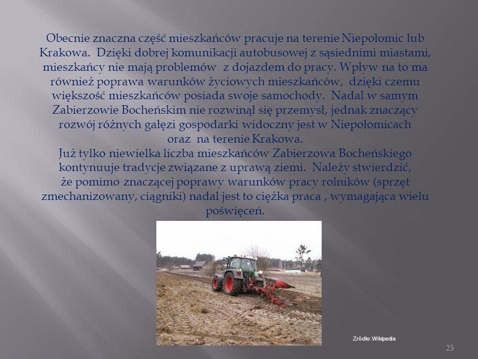 Obecnie znaczna część mieszkańców pracuje na terenie Niepołomic lub Krakowa. Dzięki dobrej komunikacji autobusowej z sąsiednimi miastami, mieszkańcy nie mają problemów z dojazdem do pracy. Wpływ na to ma również poprawa warunków życiowych mieszkańców, dzięki czemu większość mieszkańców posiada swoje samochody. Nadal w samym Zabierzowie Bocheńskim nie rozwinął się przemysł, jednak znaczący rozwój różnych gałęzi gospodarki widoczny jest w Niepołomicach oraz na terenie Krakowa.