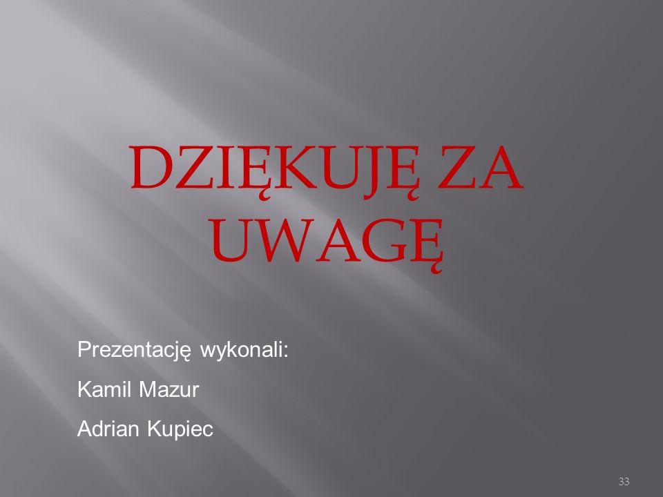 DZIĘKUJĘ ZA UWAGĘ Prezentację wykonali: Kamil Mazur Adrian Kupiec