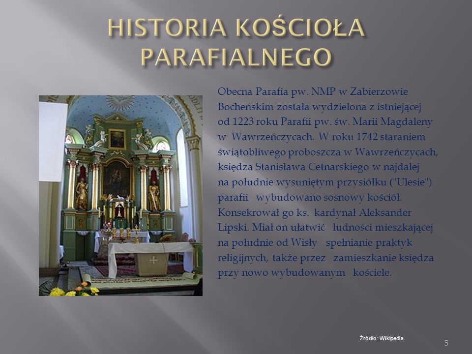 HISTORIA KOŚCIOŁA PARAFIALNEGO