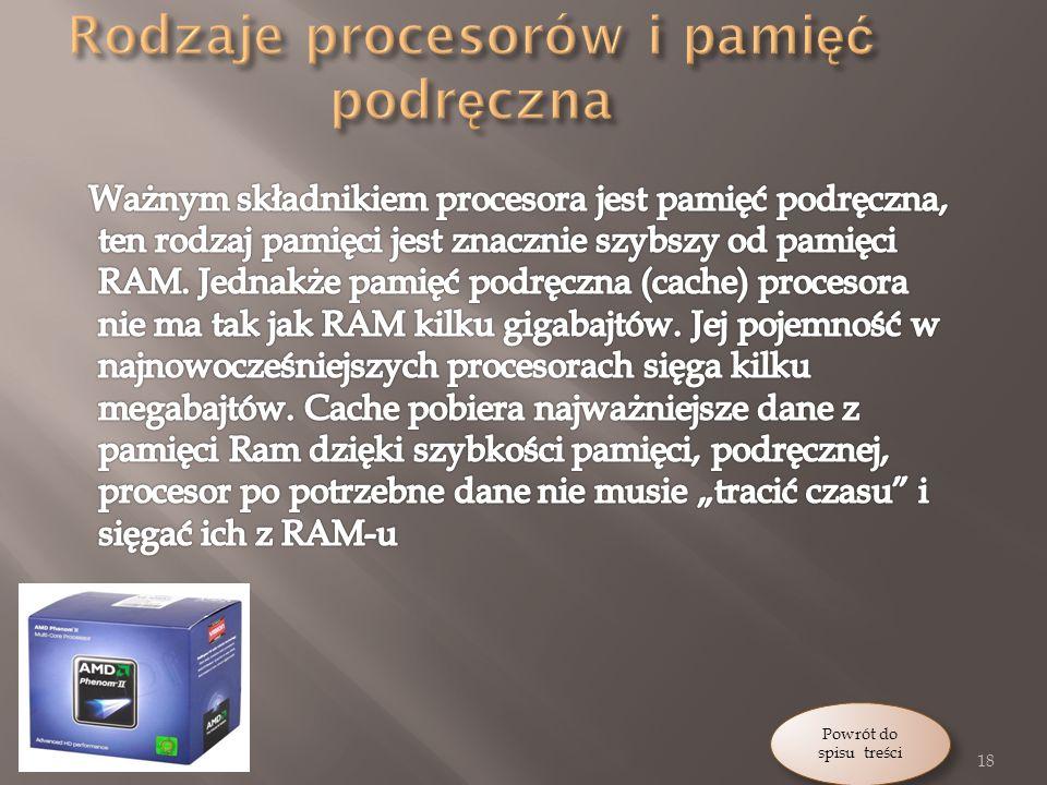 Rodzaje procesorów i pamięć podręczna