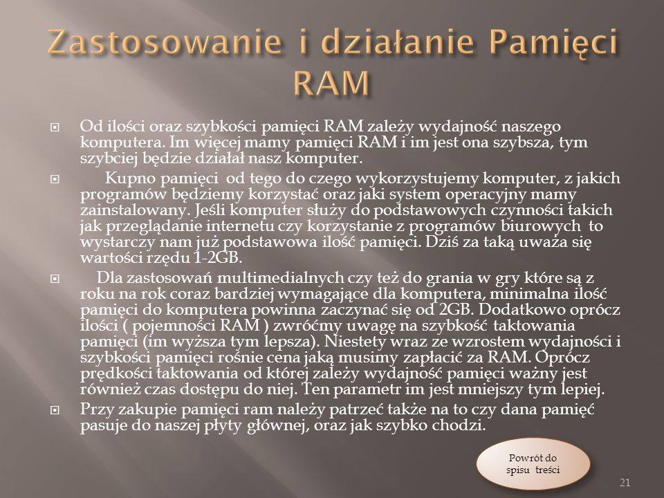 Zastosowanie i działanie Pamięci RAM