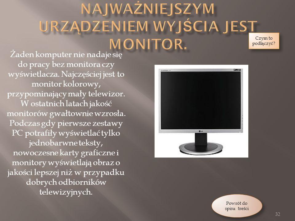 Najważniejszym urządzeniem wyjścia jest monitor.