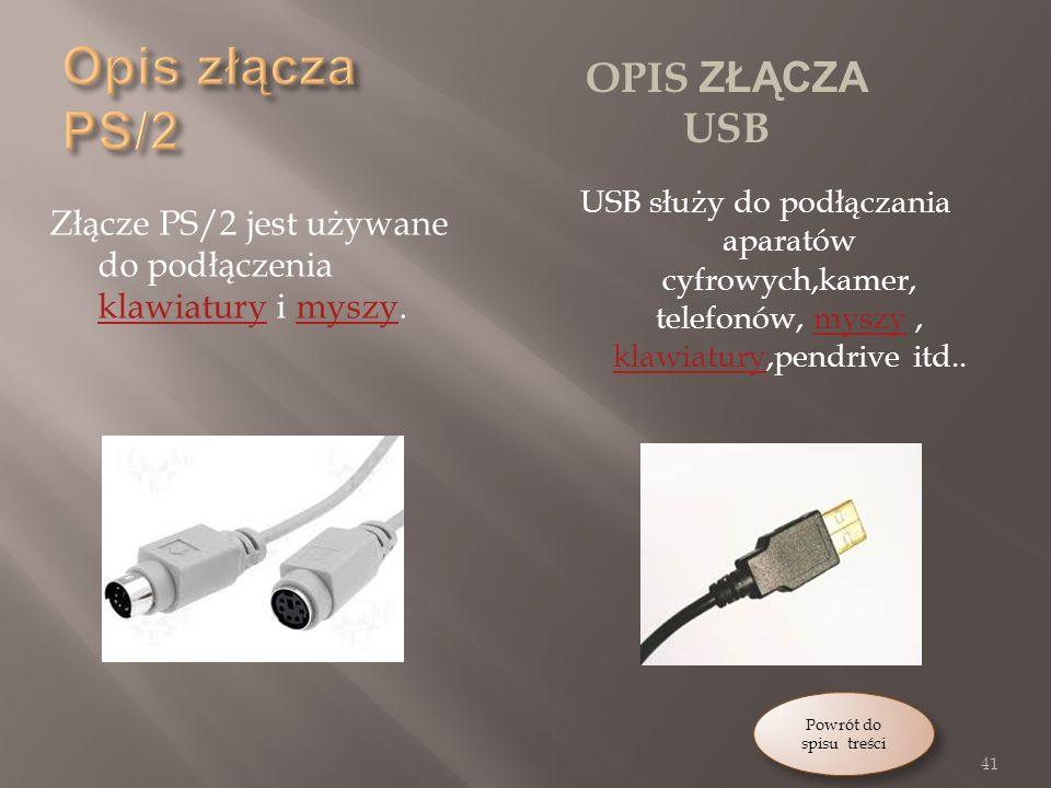 Opis złącza PS/2 Opis złącza USB
