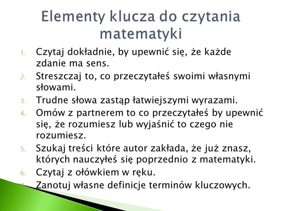 Elementy klucza do czytania matematyki