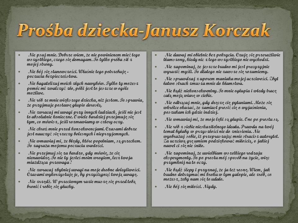 Prośba dziecka-Janusz Korczak