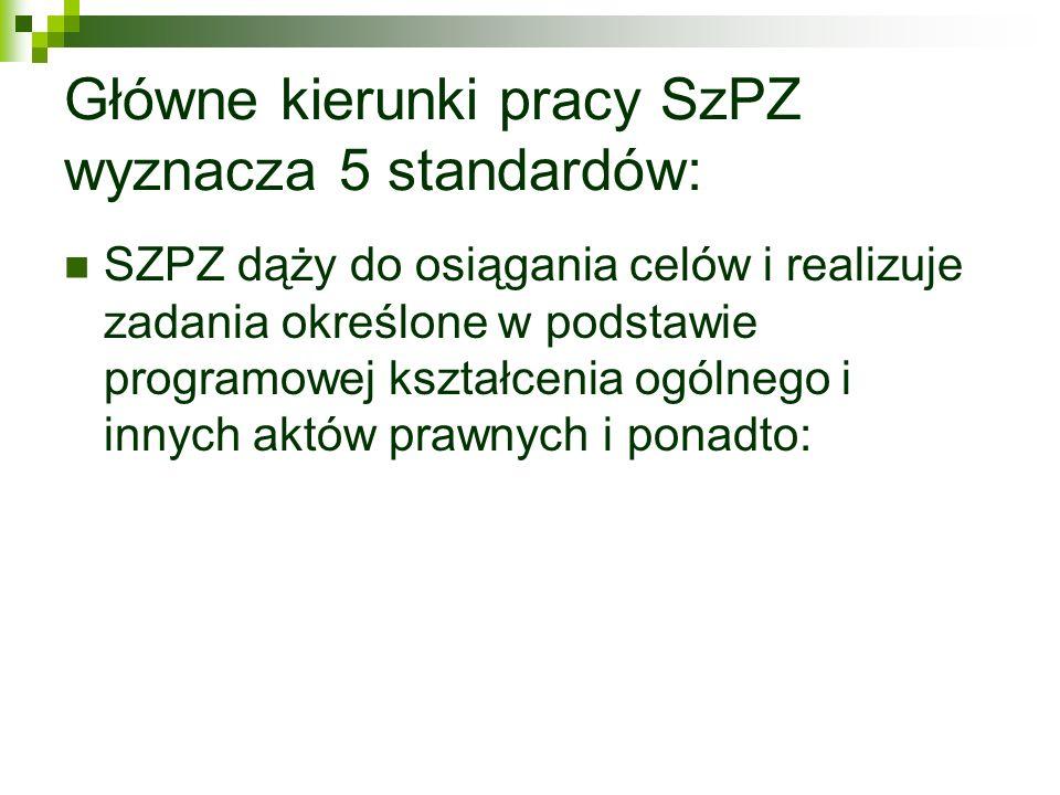 Główne kierunki pracy SzPZ wyznacza 5 standardów:
