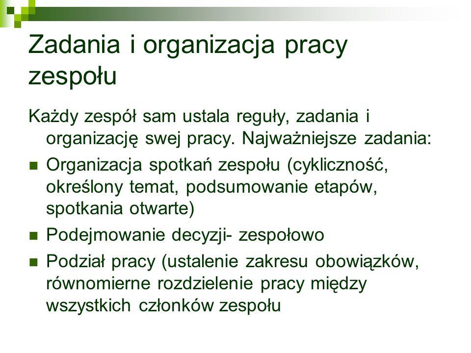 Zadania i organizacja pracy zespołu