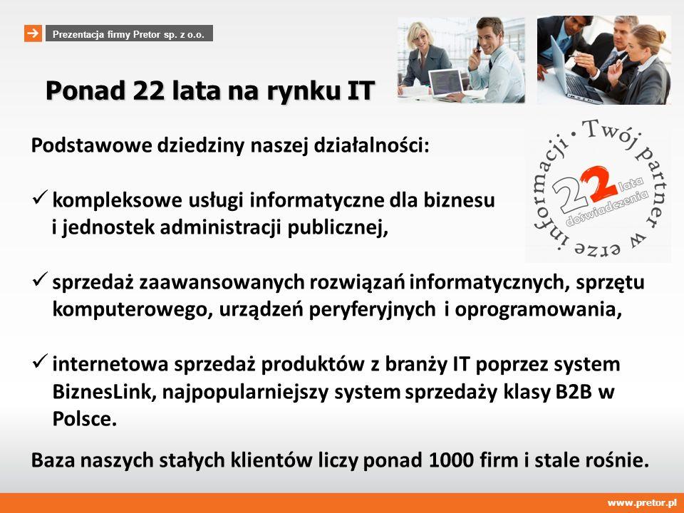 Ponad 22 lata na rynku IT Podstawowe dziedziny naszej działalności: