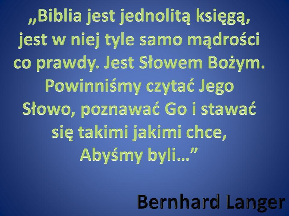 """""""Biblia jest jednolitą księgą, Bernhard Langer"""