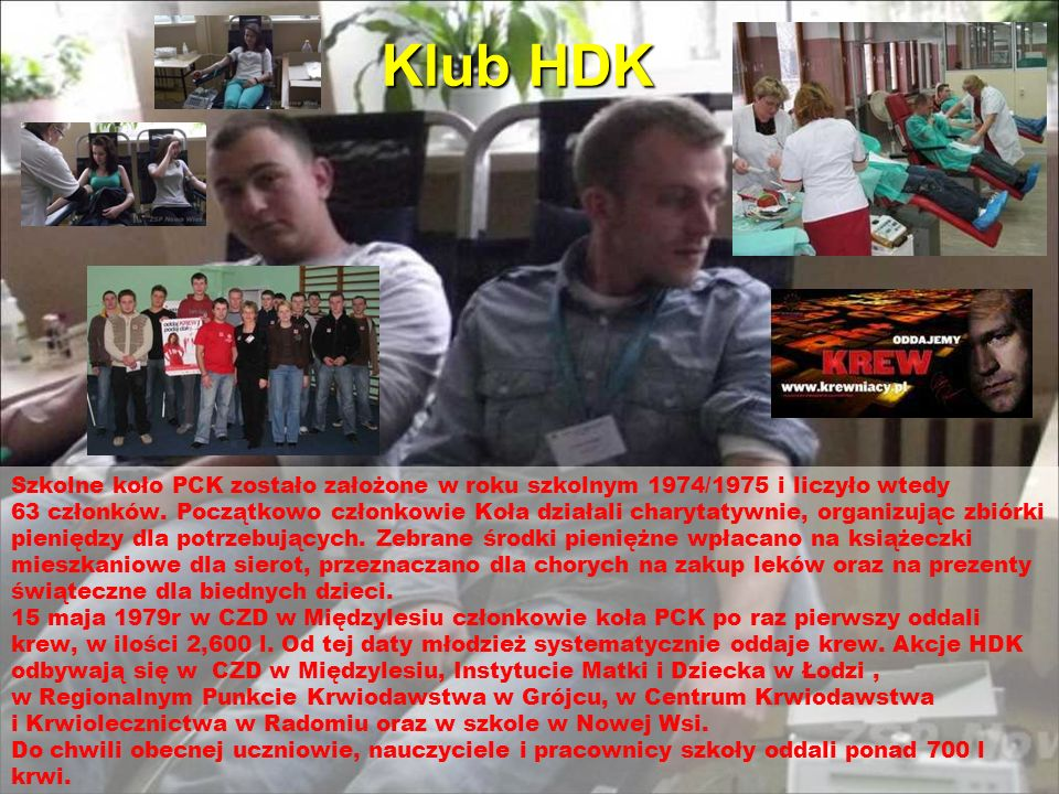 Klub HDK Szkolne koło PCK zostało założone w roku szkolnym 1974/1975 i liczyło wtedy.
