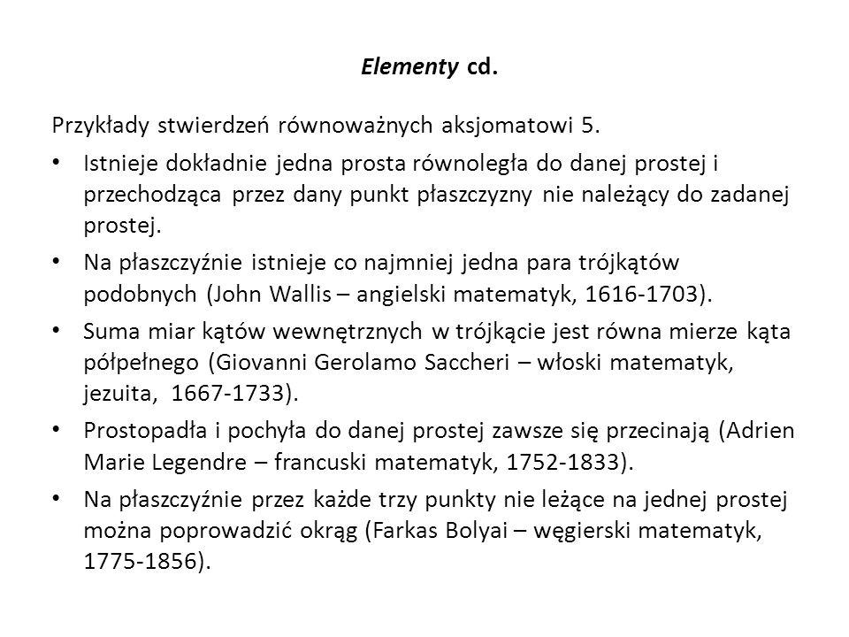 Elementy cd. Przykłady stwierdzeń równoważnych aksjomatowi 5.