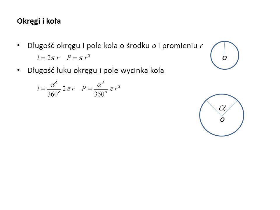 Okręgi i koła o o Długość okręgu i pole koła o środku o i promieniu r