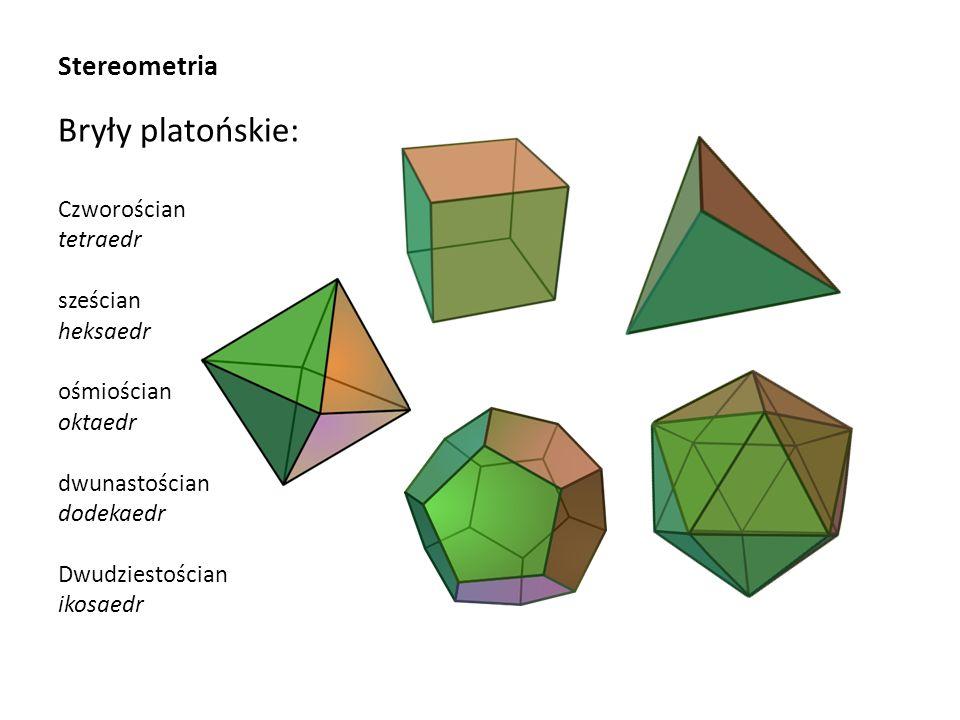 Bryły platońskie: Stereometria Czworościan tetraedr sześcian heksaedr