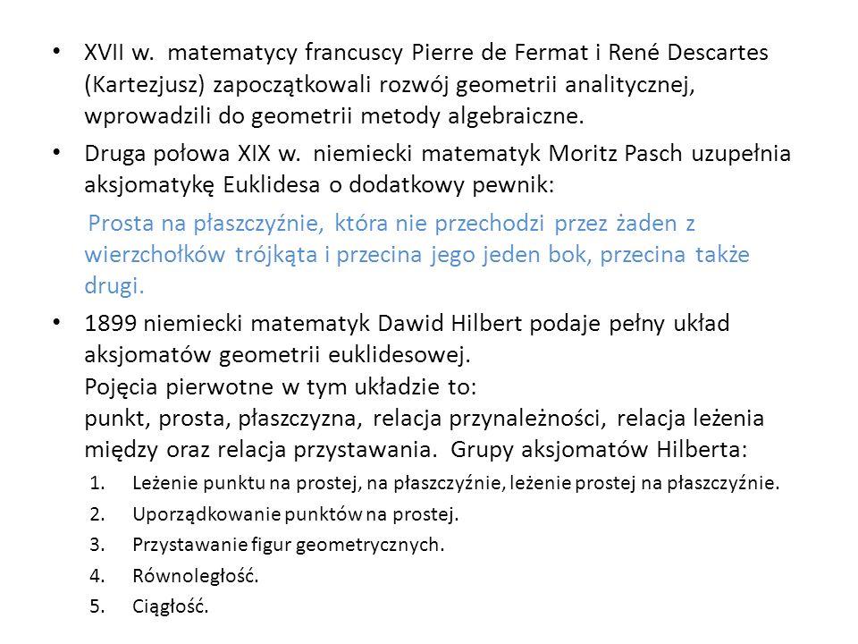 XVII w. matematycy francuscy Pierre de Fermat i René Descartes (Kartezjusz) zapoczątkowali rozwój geometrii analitycznej, wprowadzili do geometrii metody algebraiczne.