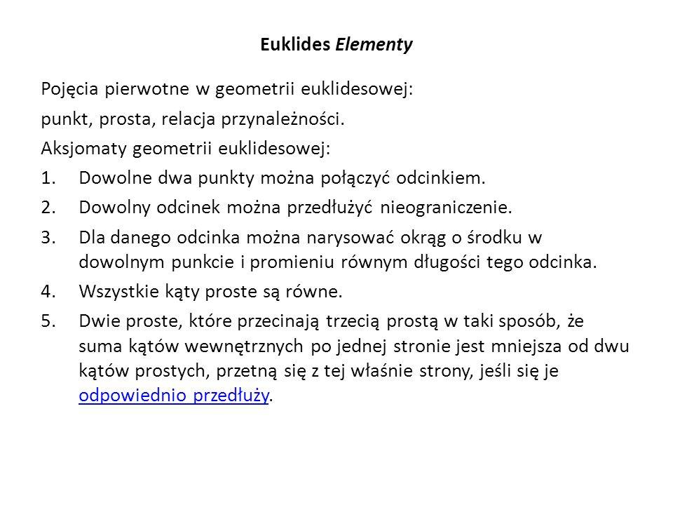 Euklides Elementy Pojęcia pierwotne w geometrii euklidesowej: punkt, prosta, relacja przynależności.