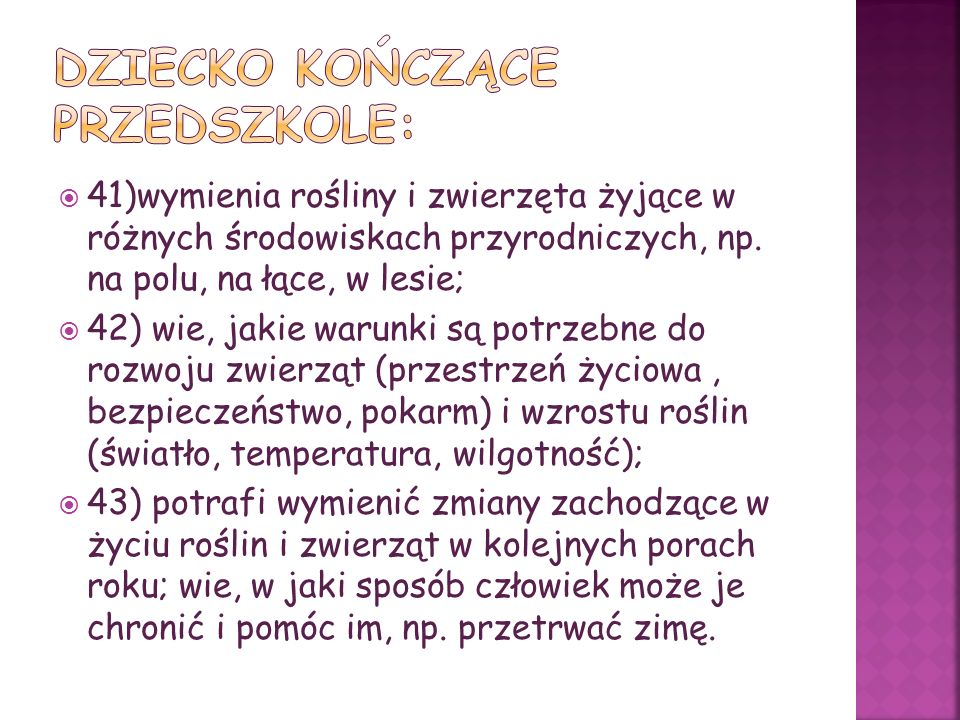 DZIECKO KOŃCZĄCE przedszkolE: