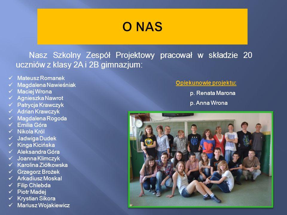 O NAS Nasz Szkolny Zespół Projektowy pracował w składzie 20 uczniów z klasy 2A i 2B gimnazjum: Mateusz Romanek.