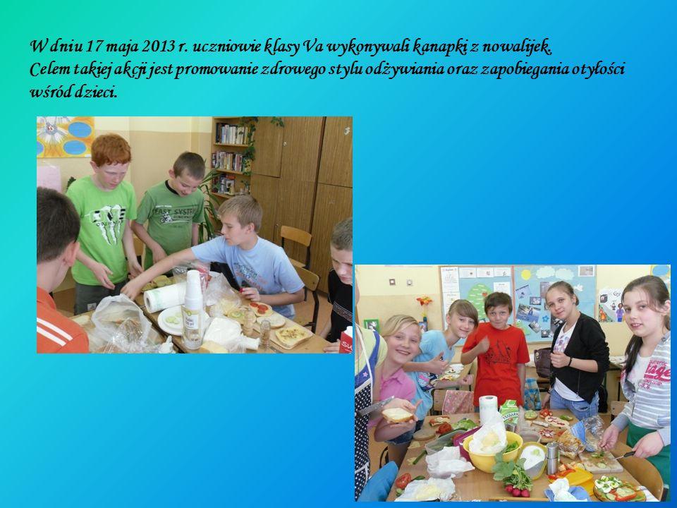 W dniu 17 maja 2013 r. uczniowie klasy Va wykonywali kanapki z nowalijek.