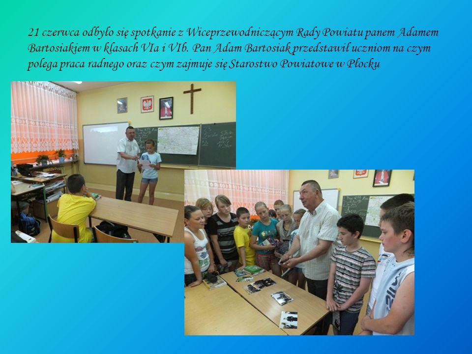 21 czerwca odbyło się spotkanie z Wiceprzewodniczącym Rady Powiatu panem Adamem Bartosiakiem w klasach VIa i VIb.