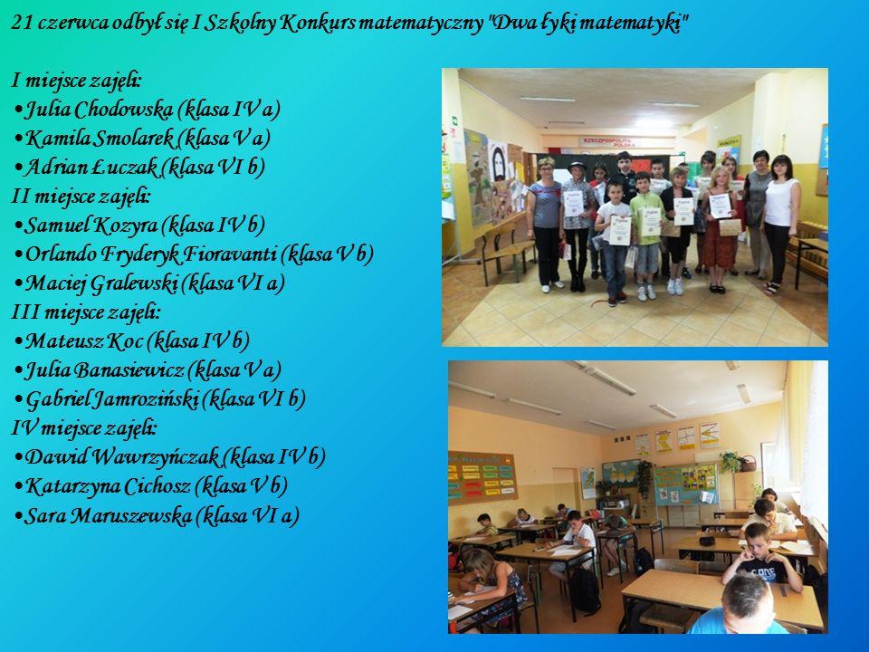 21 czerwca odbył się I Szkolny Konkurs matematyczny Dwa łyki matematyki