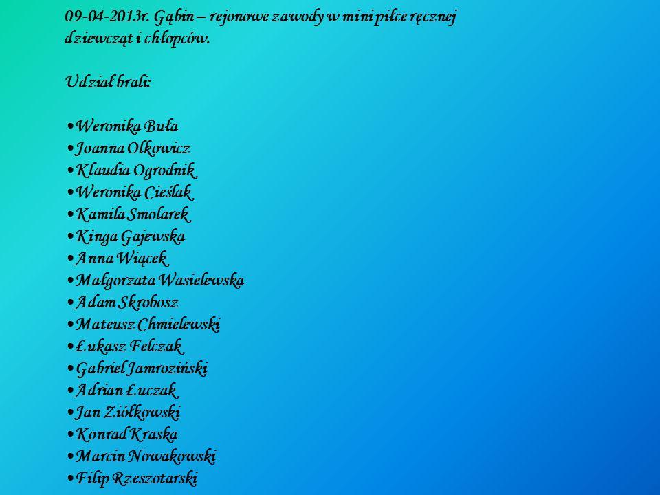 09-04-2013r. Gąbin – rejonowe zawody w mini piłce ręcznej