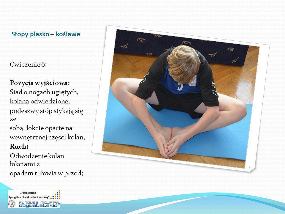 Stopy płasko – koślawe Ćwiczenie 6: Pozycja wyjściowa: