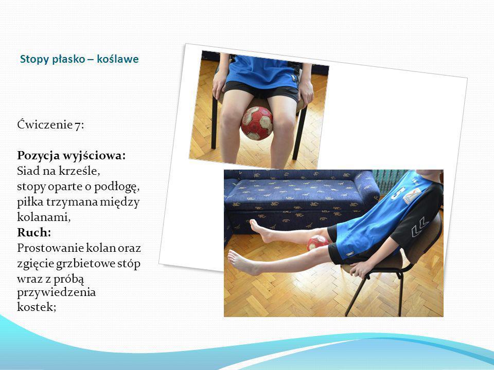 Stopy płasko – koślawe Ćwiczenie 7: Pozycja wyjściowa: Siad na krześle, stopy oparte o podłogę,
