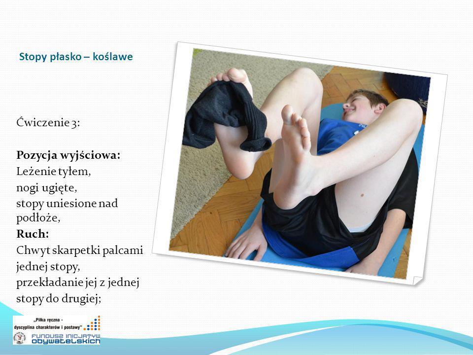 Stopy płasko – koślawe Ćwiczenie 3: Pozycja wyjściowa: Leżenie tyłem, nogi ugięte, stopy uniesione nad podłoże,