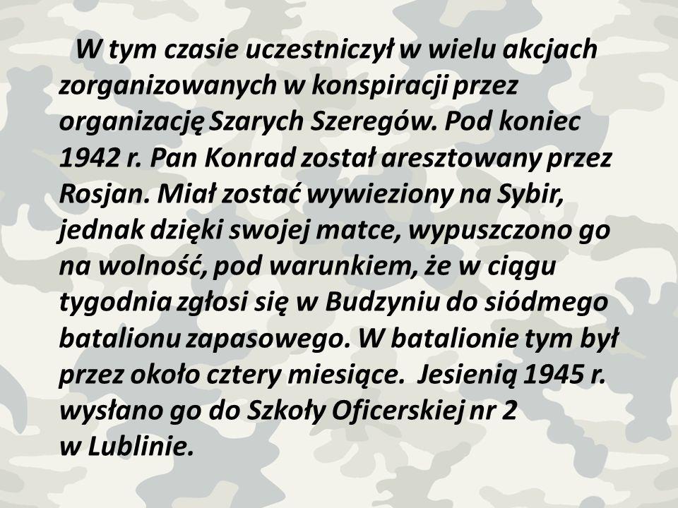 W tym czasie uczestniczył w wielu akcjach zorganizowanych w konspiracji przez organizację Szarych Szeregów.