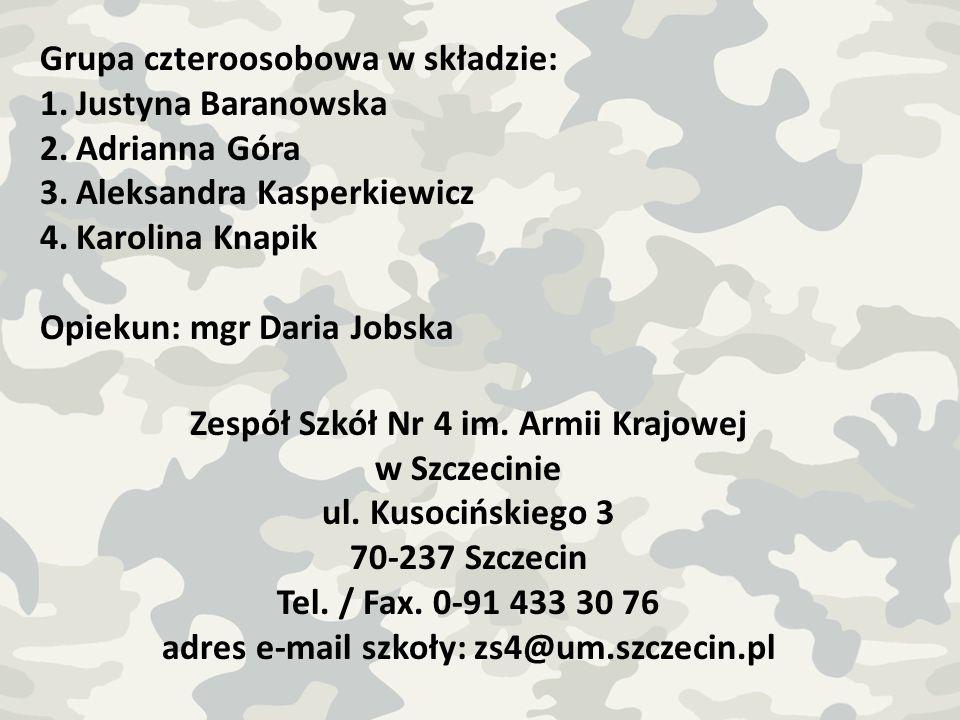 Grupa czteroosobowa w składzie: Justyna Baranowska Adrianna Góra