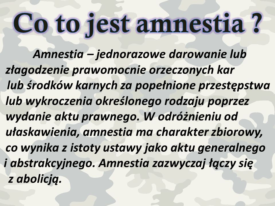 Co to jest amnestia