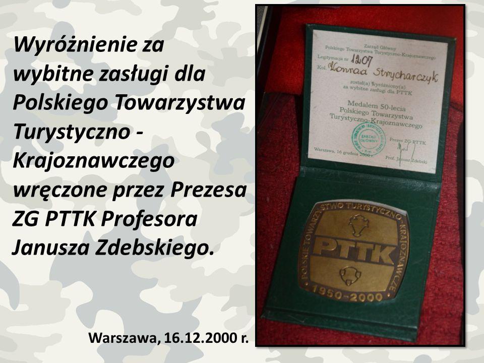 wręczone przez Prezesa ZG PTTK Profesora Janusza Zdebskiego.