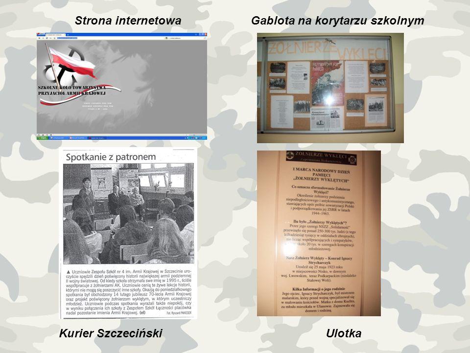 Strona internetowa Gablota na korytarzu szkolnym Kurier Szczeciński Ulotka