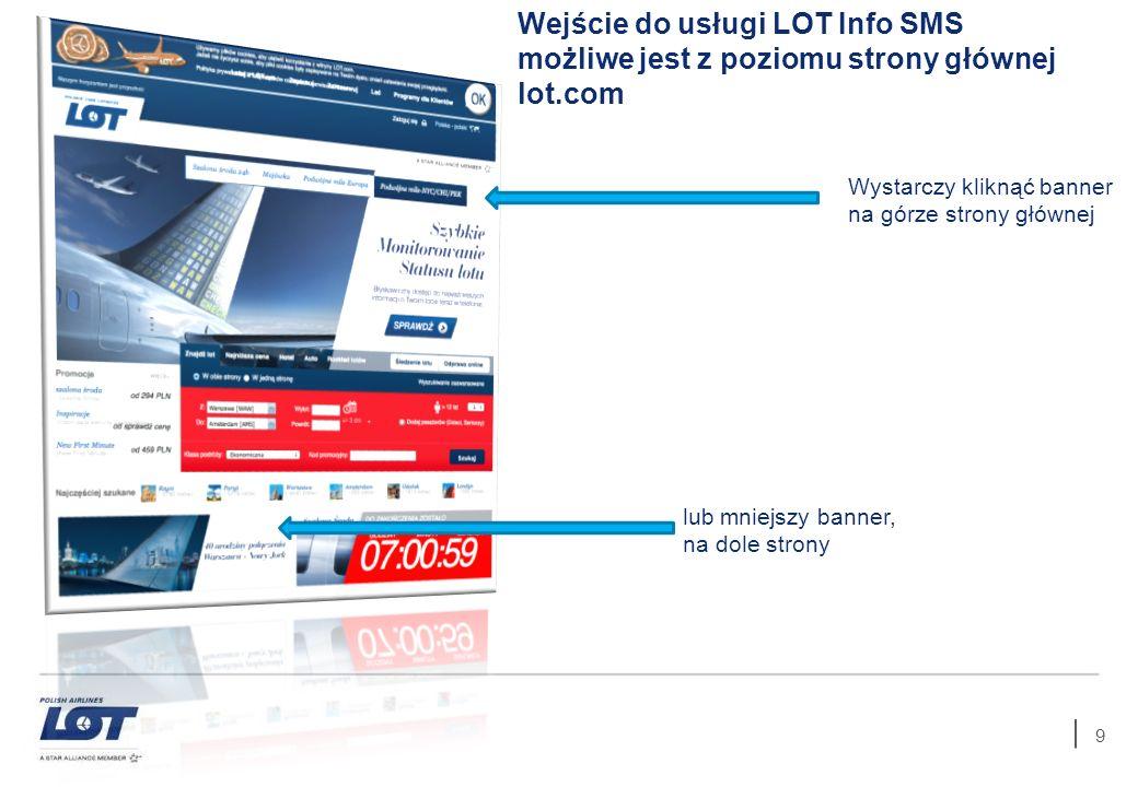 Wejście do usługi LOT Info SMS