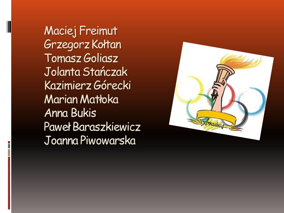 Maciej Freimut Grzegorz Kołtan Tomasz Goliasz Jolanta Stańczak Kazimierz Górecki Marian Matłoka Anna Bukis Paweł Baraszkiewicz Joanna Piwowarska