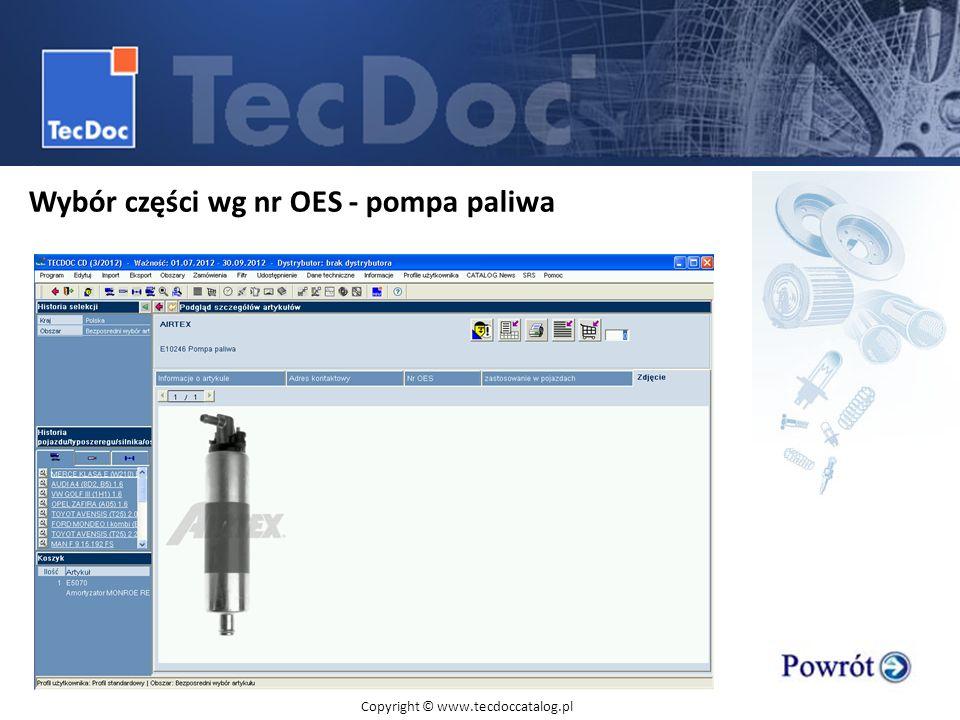 Wybór części wg nr OES - pompa paliwa
