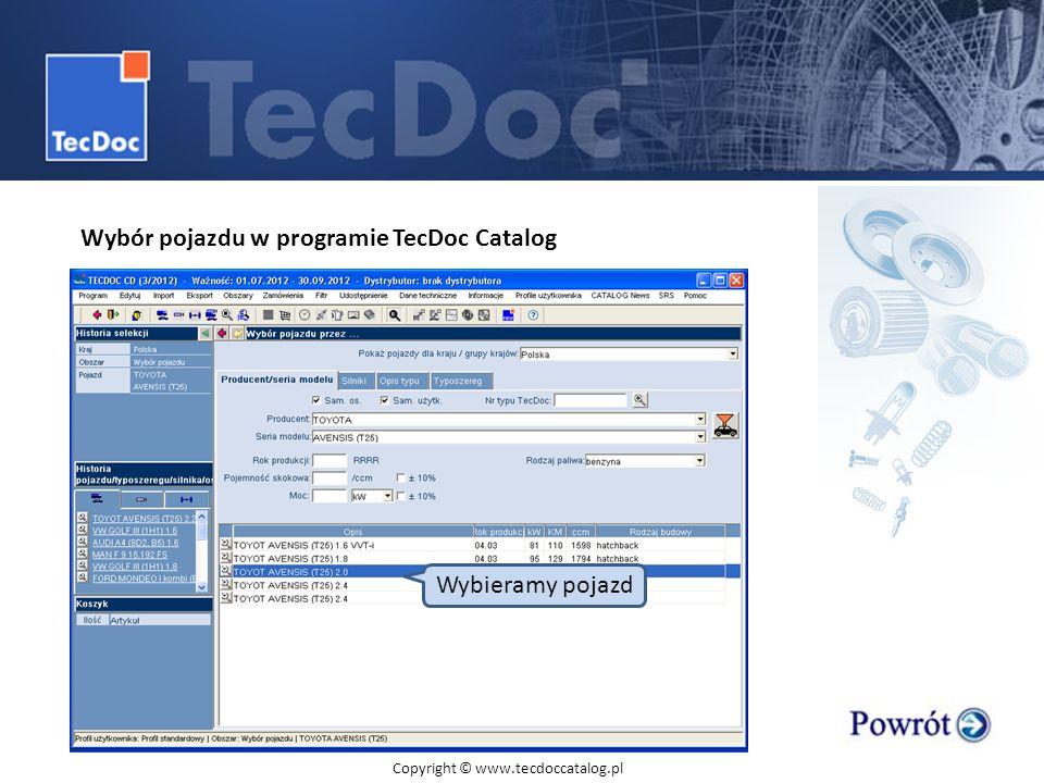 Wybór pojazdu w programie TecDoc Catalog
