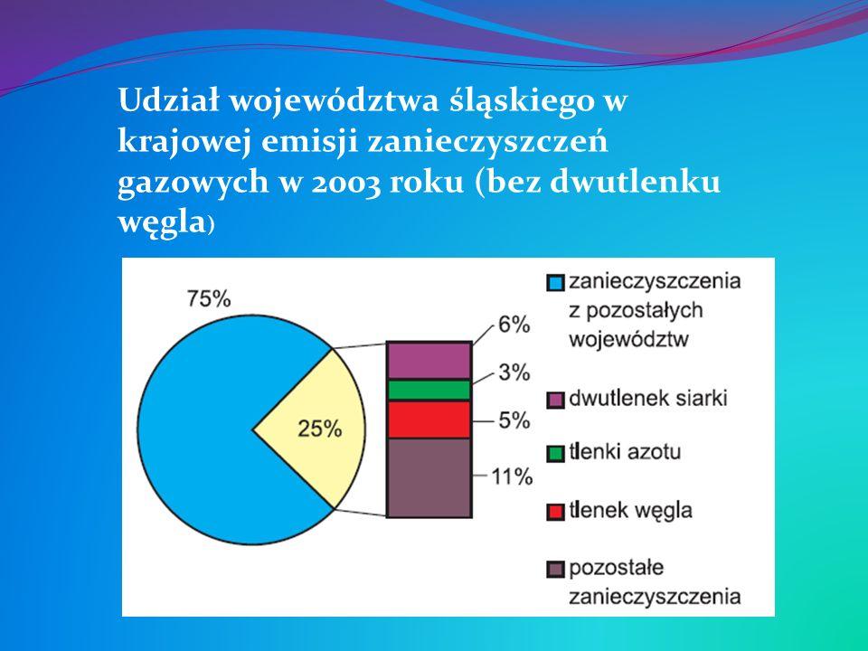 Udział województwa śląskiego w krajowej emisji zanieczyszczeń gazowych w 2003 roku (bez dwutlenku węgla)