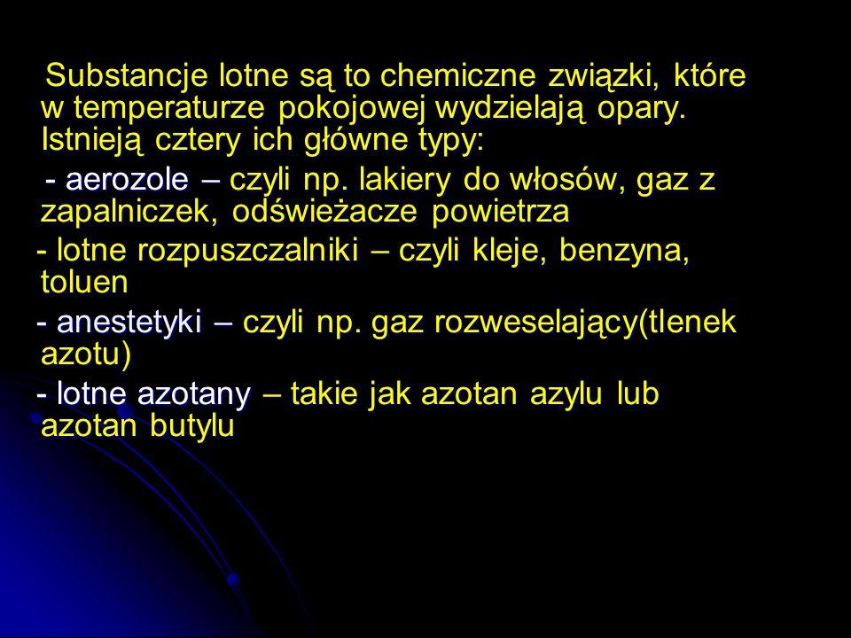 Substancje lotne są to chemiczne związki, które w temperaturze pokojowej wydzielają opary. Istnieją cztery ich główne typy: