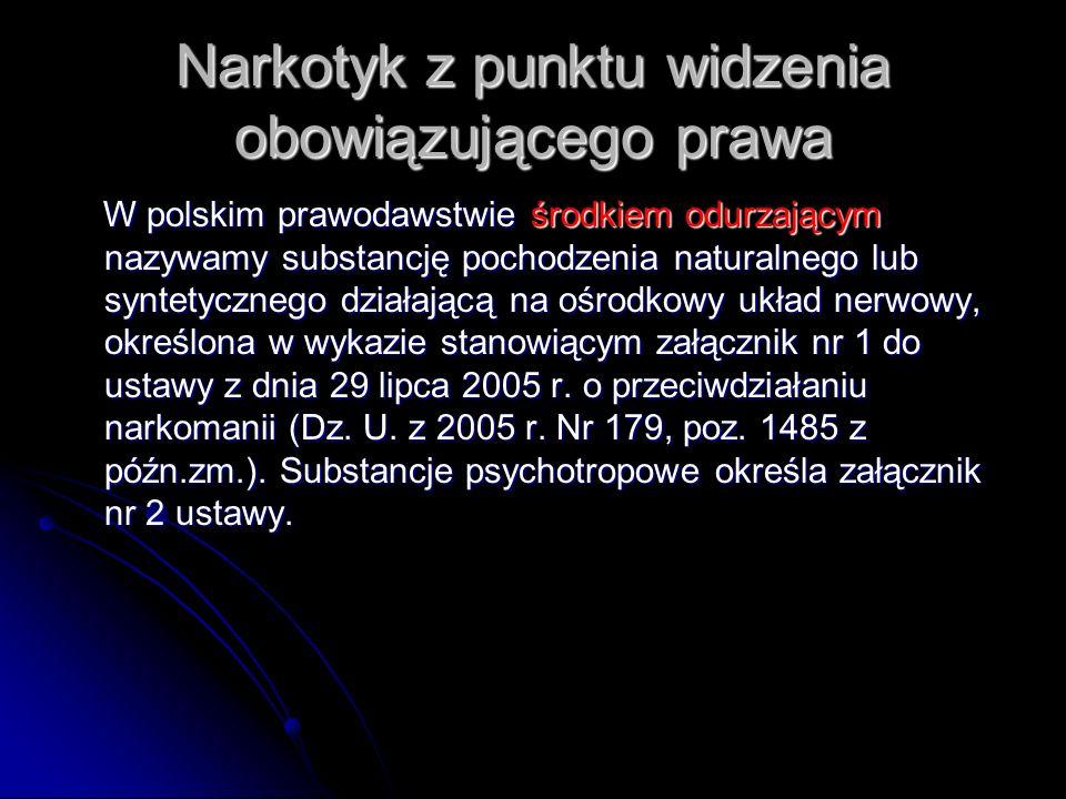 Narkotyk z punktu widzenia obowiązującego prawa