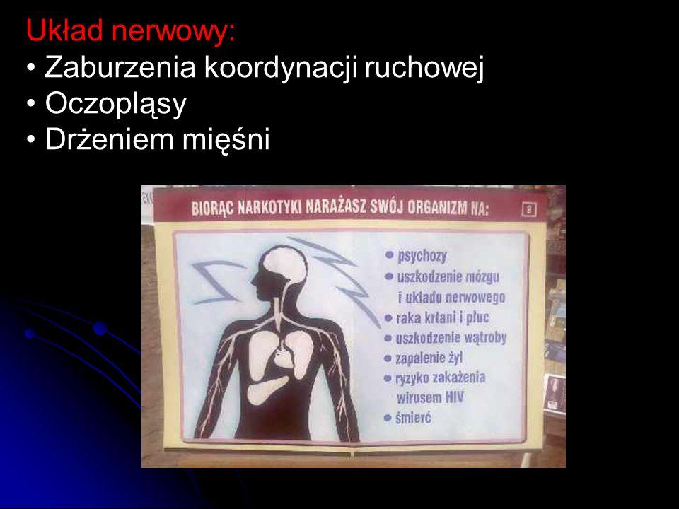 Układ nerwowy: • Zaburzenia koordynacji ruchowej • Oczopląsy • Drżeniem mięśni
