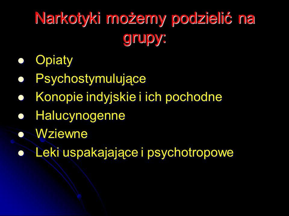 Narkotyki możemy podzielić na grupy: