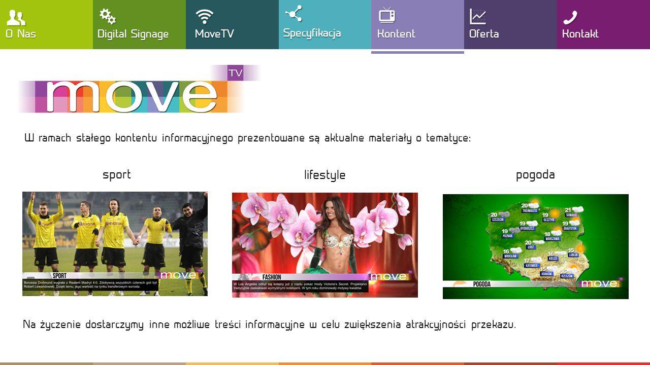 , T !  Y : G sport lifestyle pogoda O Nas Digital Signage MoveTV