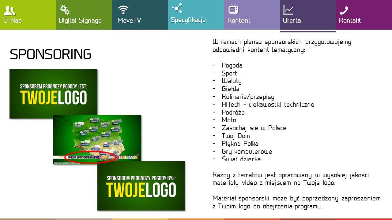 , T !  SPONSORING Y : G O Nas Digital Signage MoveTV Specyfikacja