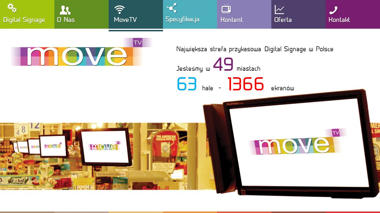 , T ! 63 hale - 1366 ekranów  Y : G Digital Signage O Nas MoveTV