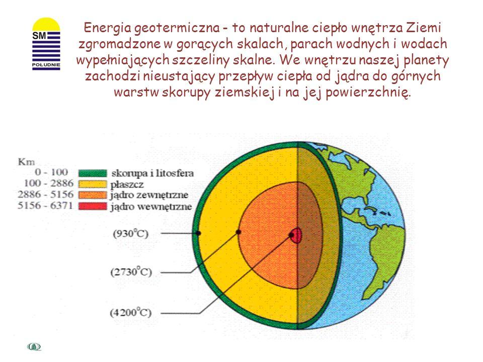 Energia geotermiczna - to naturalne ciepło wnętrza Ziemi zgromadzone w gorących skalach, parach wodnych i wodach wypełniających szczeliny skalne.