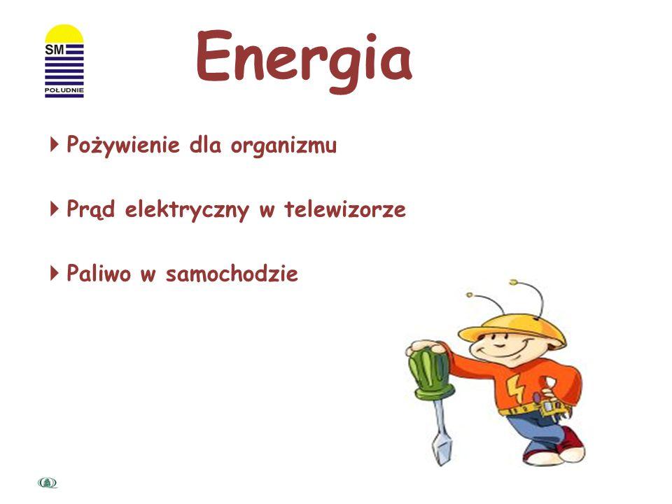 Energia Pożywienie dla organizmu Prąd elektryczny w telewizorze