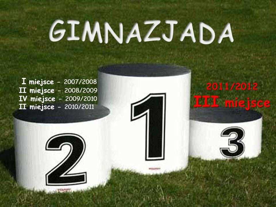 III miejsce GIMNAZJADA 2011/2012 I miejsce - 2007/2008