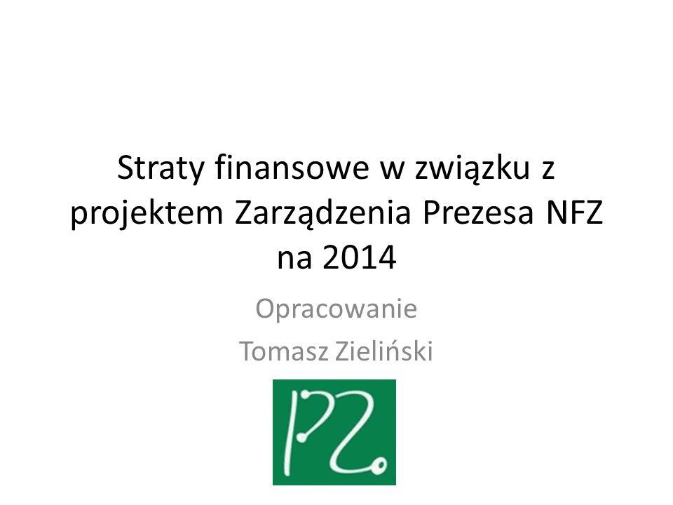 Straty finansowe w związku z projektem Zarządzenia Prezesa NFZ na 2014